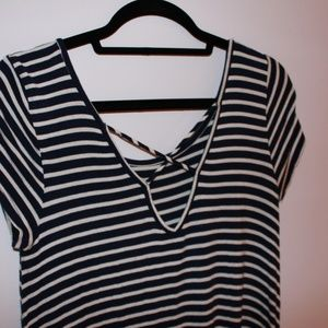 Dresses - Navy Blue and White Striped T-Shirt Dress